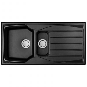 Astracast Sierra 1.5 Bowl Reversible Black Kitchen Sink With Pop Up Waste Kit