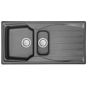 Astracast Sierra 1.5 Bowl Reversible Graphite Grey Kitchen Sink And Pop Up Waste
