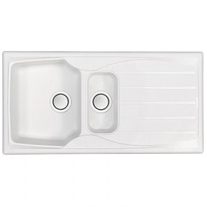 Astracast Sierra 1.5 Bowl Reversible Arctic White Kitchen Sink And Waste Kit