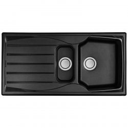 Black 1.5 Bowl Kitchen Sink With Reversible Drainer And Pop Up Waste Kit