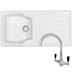 Astracast Sierra 1.0 Bowl Arctic White Kitchen Sink And Reginox Chrome Mixer Tap
