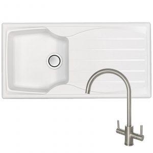 Astracast Sierra 1 Bowl Arctic White Kitchen Sink & Genesis Swan Neck Steel Tap
