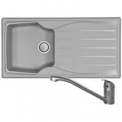 Astracast Sierra 1.0 Bowl Light Grey Kitchen Sink And Clearwater Creta Mixer Tap
