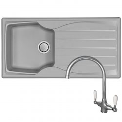 Astracast Sierra 1 Bowl Light Grey Reversible Kitchen Sink And Reginox Elbe Tap