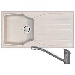 Astracast Sierra 1 Bowl Cream Kitchen Sink And Clearwater Creta Chrome Mixer Tap