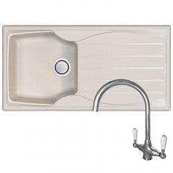 Astracast Sierra 1 Bowl Cream Reversible Kitchen Sink & Reginox Elbe Chrome Tap