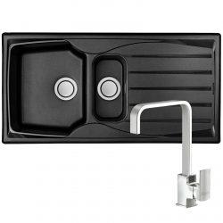 Astracast Sierra 1.5 Bowl Black Kitchen Sink & Reginox Astoria Chrome Mixer Tap