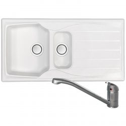 Astracast Sierra 1.5 Bowl Arctic White Kitchen Sink And Creta Chrome Mixer Tap
