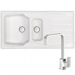 Astracast Sierra 1.5 Bowl Arctic White Kitchen Sink & Reginox U-shape Mixer Tap