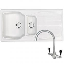Astracast Sierra 1.5 Bowl Arctic White Kitchen Sink & Brooklyn Chrome Mixer Tap