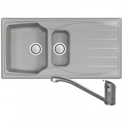 Astracast Sierra 1.5 Bowl Light Grey Kitchen Sink And Clearwater Creta Mixer Tap