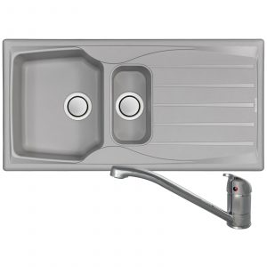 Astracast Sierra 1.5 Bowl Light Grey Kitchen Sink And Clearwater Creta Mixer Tap