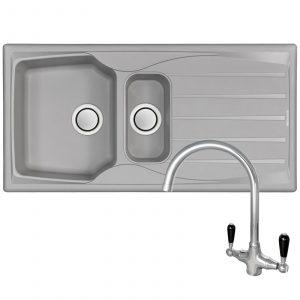 Astracast Sierra 1.5 Bowl Light Grey Kitchen Sink And Reginox Brooklyn Mixer Tap