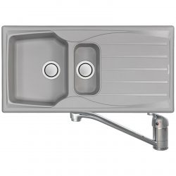Astracast Sierra 1.5 Bowl Light Grey Kitchen Sink And CDA TC10 Chrome Mixer Tap