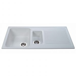 CDA AS2WH 1.5 Bowl White Reversible Quartz Composite Kitchen Sink & Waste Kit