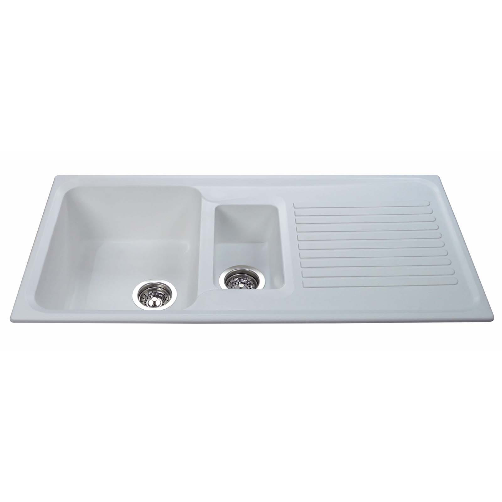 CDA AS2WH 1.5 Bowl Reversible Composite Kitchen Sink In White