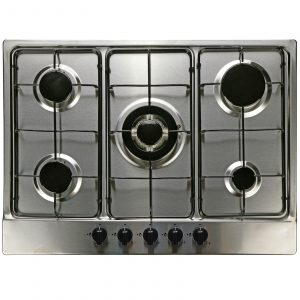 SIA 60cm Black Touch Control Oven, 70cm 5 Burner Gas Hob & Curved Glass Hood Fan