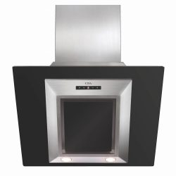 CDA EVG6BL 60cm Black & Stainless Steel Angled Designer Cooker Hood Extractor