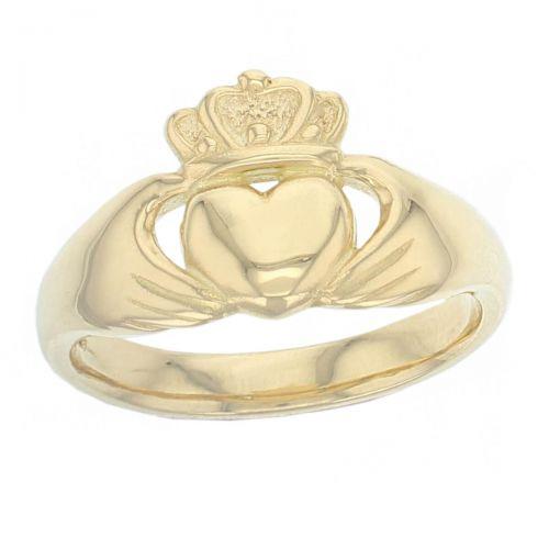 Faller Claddagh, 18ct yellow gold,Irish, love, loyalty & friendship, hands, heart & crown, dress ring, men's