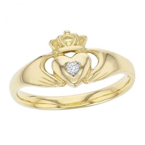 Claddagh, 18ct yellow gold, Irish, love, loyalty & friendship, hands, heart & crown, diamond ring, ladies, Faller