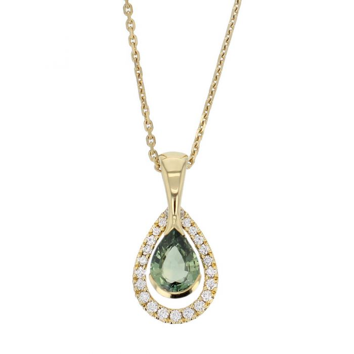Faller pear cut green sapphire gemstone & diamond halo 18ct yellow gold ladies pendant with chain, 18kt, designer, handmade by Faller, Derry/ Londonderry, hand crafted, precious jewellery, jewelry