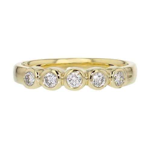 3.6mm wide 18ct yellow gold ladies 5 round brilliant cut rim set diamond eternity ring, woman's bridal, personalised engraving, court profile, comfort fit, precious jewellery by Faller of Derry/ Londonderry, jewelry, 18kt