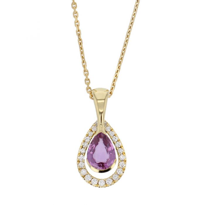 Faller pear cut pink sapphire gemstone & diamond halo 18ct yellow gold ladies pendant with chain, 18kt, designer, handmade by Faller, Derry/ Londonderry, hand crafted, precious jewellery, jewelry