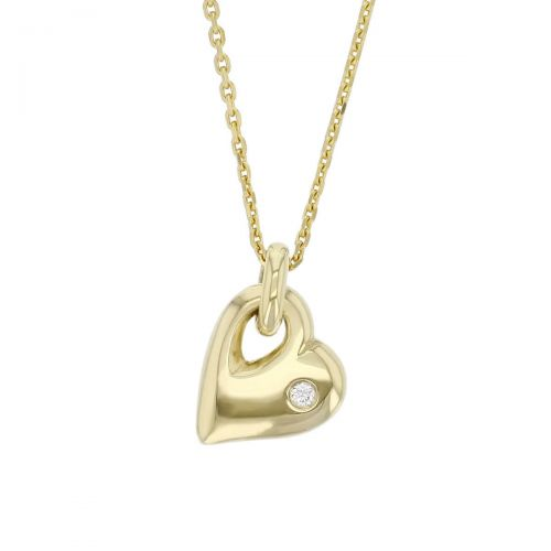 Faller 18ct yellow gold ladies heart pendant with chain, round brilliant cut diamond,18kt, designer, handmade by Faller, Derry/ Londonderry, hand crafted, precious jewellery, jewelry, love