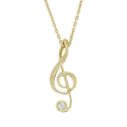 18ct yellow gold treble clef diamond pendant with chain, music note, musical, Ireland, designer handmade by Faller, hand crafted