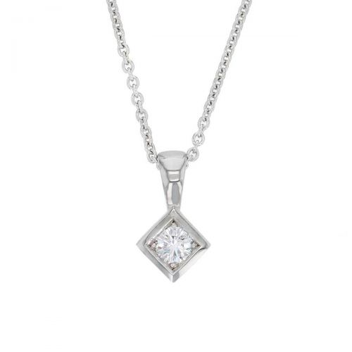 Faller round brilliant cut diamond 18ct white gold square ladies solitaire pendant with chain, 18kt, designer, handmade by Faller, Derry/ Londonderry, hand crafted, precious jewellery, jewelry