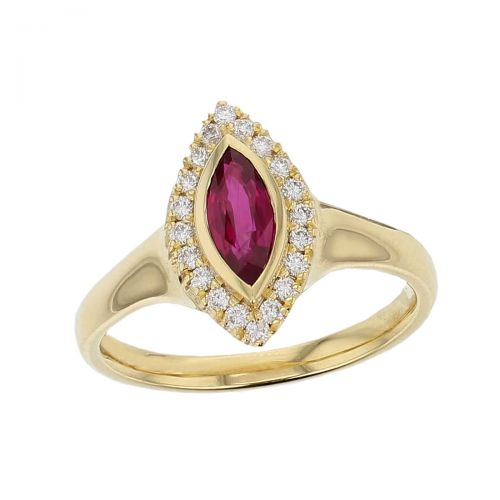 18ct yellow gold ladies marquise cut ruby & diamond designer cluster ring designed & hand crafted by Faller of Derry/ Londonderry, halo dress ring, precious red gem jewellery, jewelry, navette