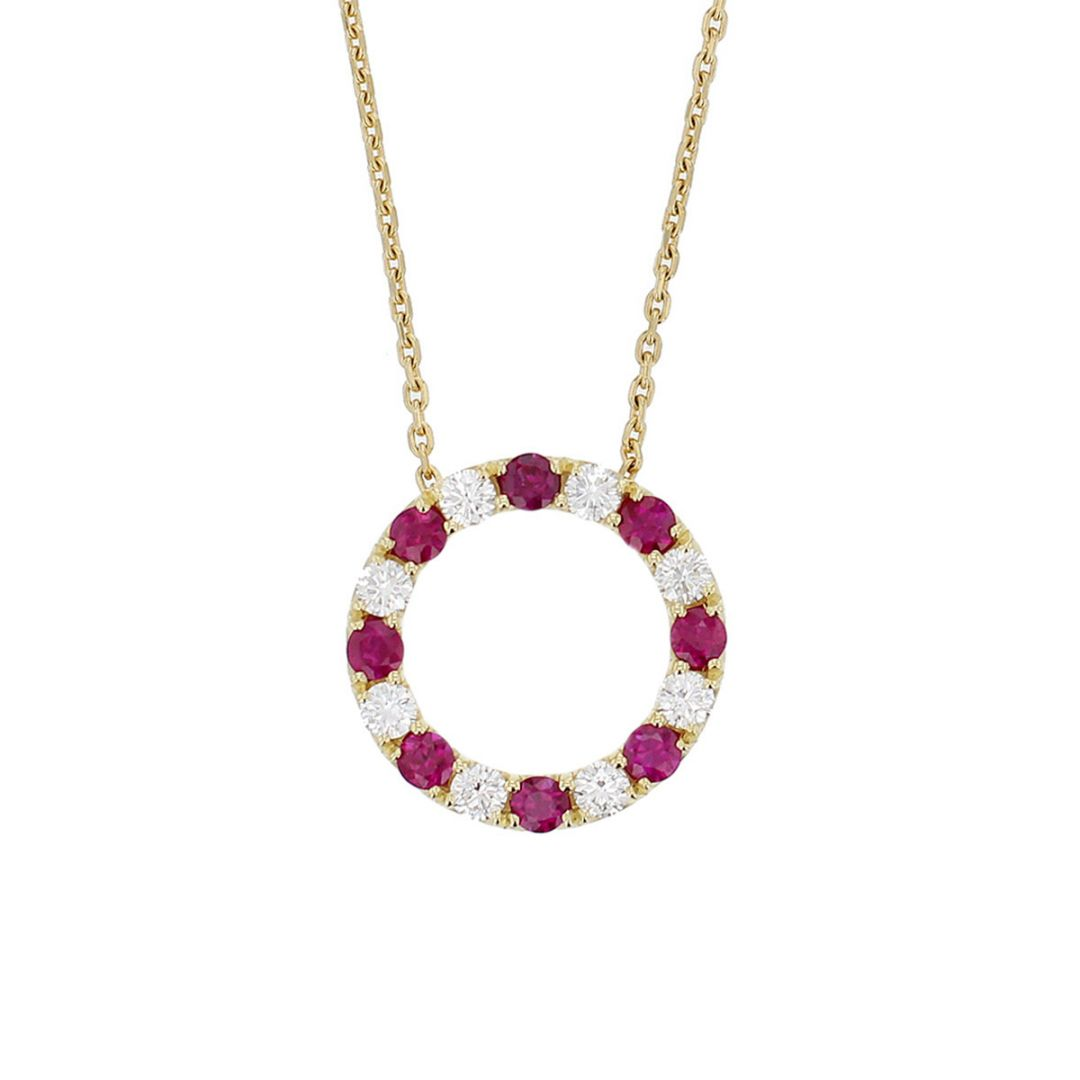 Faller Eternal Circle, ruby & diamond 18ct yellow gold ladies pendant with chain, symbol of everlasting love, eternal circle of life, wedding anniversary, celebrate birth, 18kt, designer, handmade by Faller, Derry/ Londonderry, hand crafted, precious jewellery, jewelry