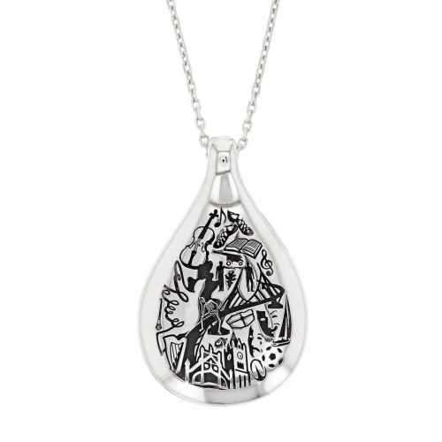 Faller Drop of Derry, Londonderry, Northern Ireland, culture, heritage, historical, peace bridge, guildhall, music, pendant, sterling silver