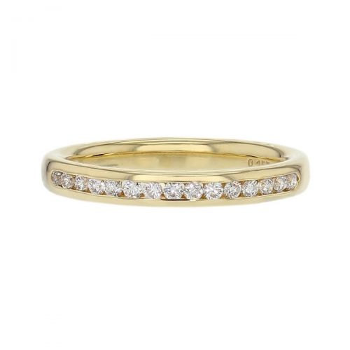 2.5mm wide 18ct yellow gold ladies round brilliant cut cut diamond eternity ring, diamond set wedding ring, woman's bridal, personalised engraving, court profile, comfort fit, precious jewellery by Faller of Derry/ Londonderry, jewelry, channel set, 18kt