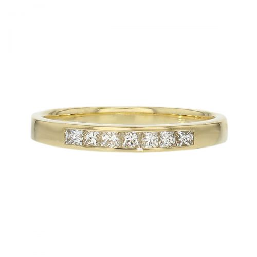 2.4mm wide 18ct yellow gold ladies princess cut diamond eternity ring square brilliant diamond set wedding ring, woman's bridal, personalised engraving, court profile, comfort fit, precious jewellery by Faller of Derry/ Londonderry, jewelry, channel set, 18kt
