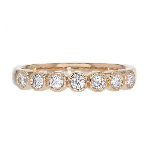 3.2mm wide 18ct rose gold ladies 7 round brilliant cut rim set diamond eternity ring, woman's bridal, personalised engraving, court profile, comfort fit, precious jewellery by Faller of Derry/ Londonderry, jewelry, 18k