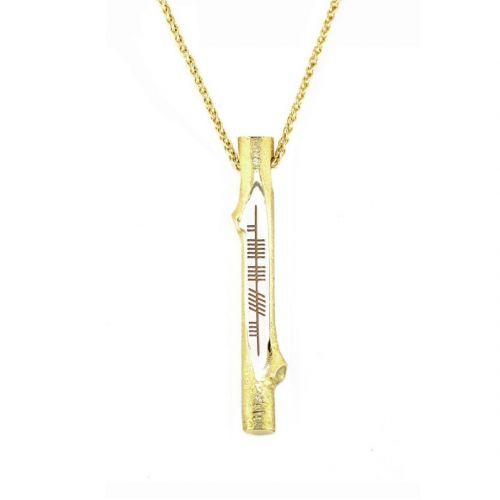 believe, creid, Ogham Stick 18ct yellow gold pendant, Faller, ancient script, talisman, oak twig secret message, celtic runes, Celtic Tree Alphabet, gaelic, hand-made, pillar