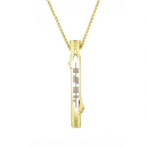 Derry, doire, Ogham Stick 18ct yellow gold pendant, Faller, ancient script, talisman, oak twig secret message, celtic runes, Celtic Tree Alphabet, gaelic, hand-made, pillar