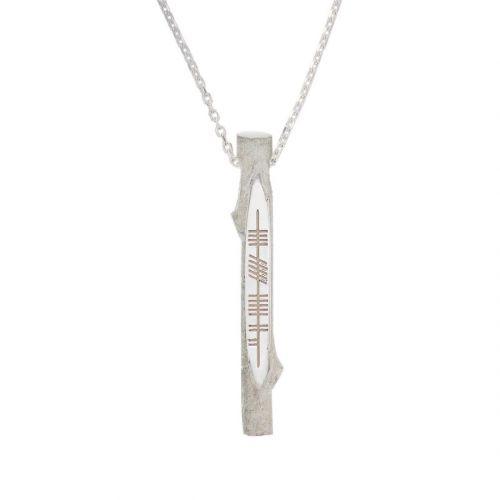 Derry, doire, Ogham Stick sterling silver pendant, Faller, ancient script, talisman, oak twig secret message, celtic runes, Celtic Tree Alphabet, gaelic, hand-made, pillar