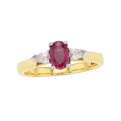 alternative engagement ring, platinum & 18ct yellow gold pear brilliant cut diamond & oval cut ruby trilogy ring designer three stone dress ring handmade by Faller, hand crafted, precious jewellery, jewelry, ladies , woman
