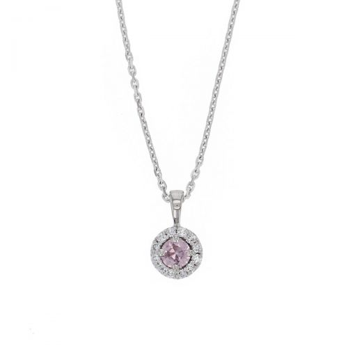 Faller round cut pink sapphire gemstone & diamond halo 18ct white gold ladies pendant with chain, 18kt, designer, handmade by Faller, Derry/ Londonderry, hand crafted, precious jewellery, jewelry