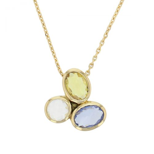 Kandy 18ct yellow gold pink blue yellow grey round oval rose cut sapphire gemstone ladies pendant, designer jewellery, gem, jewelry, handmade by Faller, Londonderry, Northern Ireland, Irish hand crafted
