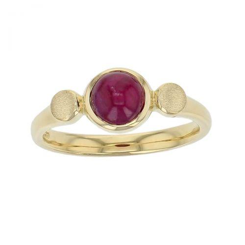 Kandy 18ct yellow gold yellow round cabochon ruby gemstone ladies dress ring, designer jewellery, gem, jewelry, handmade by Faller, Londonderry, Northern Ireland, Irish hand crafted