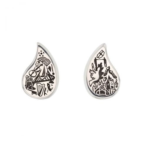 Faller Drop of Derry, Londonderry, Northern Ireland, culture, heritage, historical, peace bridge, guildhall, music, sterling silver stud earrings