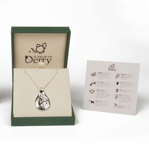 Faller Drop of Derry, Londonderry, Northern Ireland, culture, heritage, historical, peace bridge, guildhall, music, sterling silver pendant, packaging