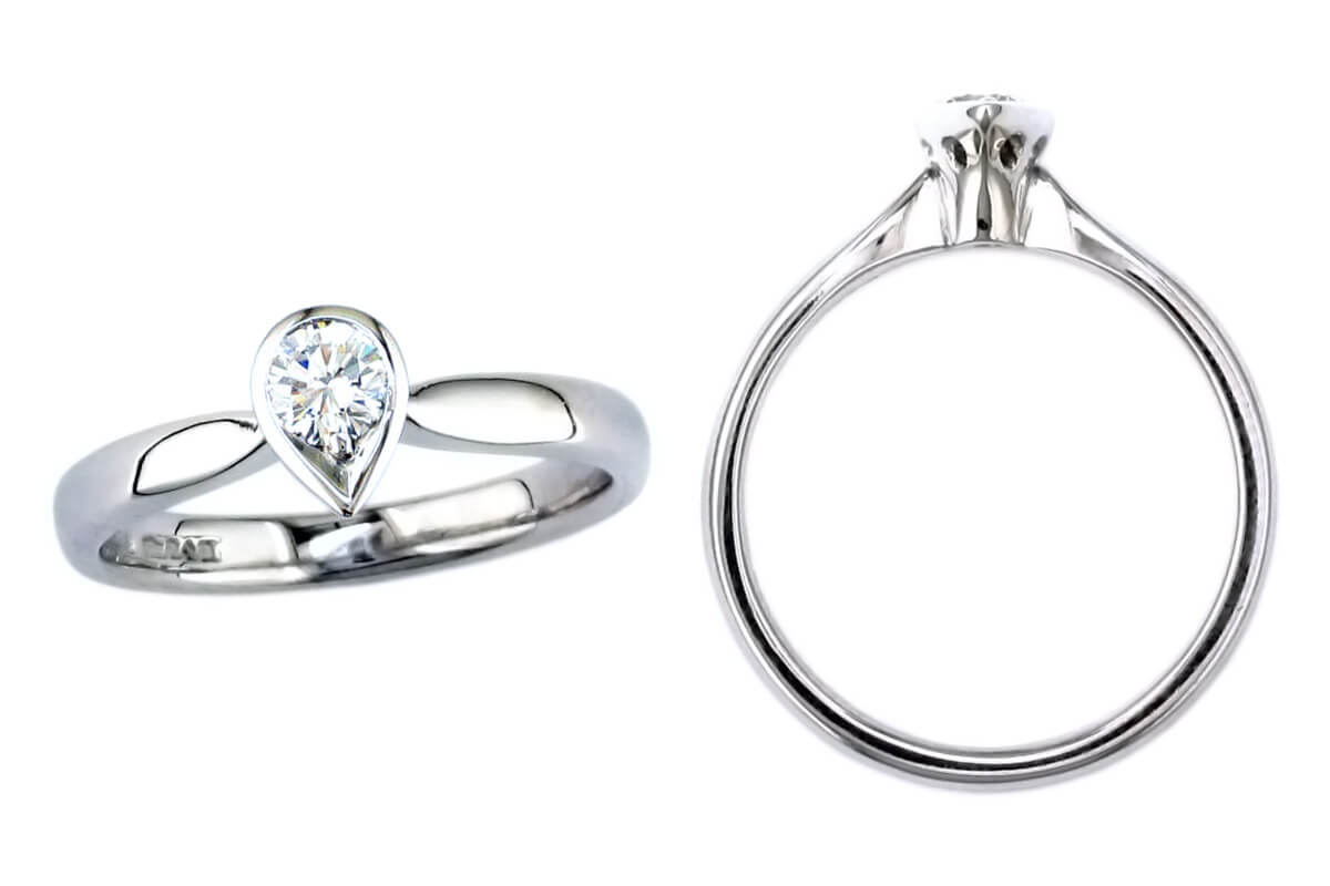 pear cut diamond solitaire style engagement ring style, designed & made by Faller the Jeweller, Derry/ Londonderry, Northern Ireland, bespoke rings, custom design by Faller. platinum, yellow gold
