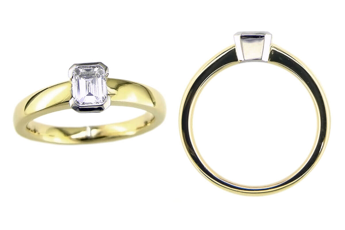 emerald cut diamond solitaire ring design, bespoke ring style, single stone ring, handmade by Faller, hand crafted, jewelry, ladies ring, bespoke jewellery