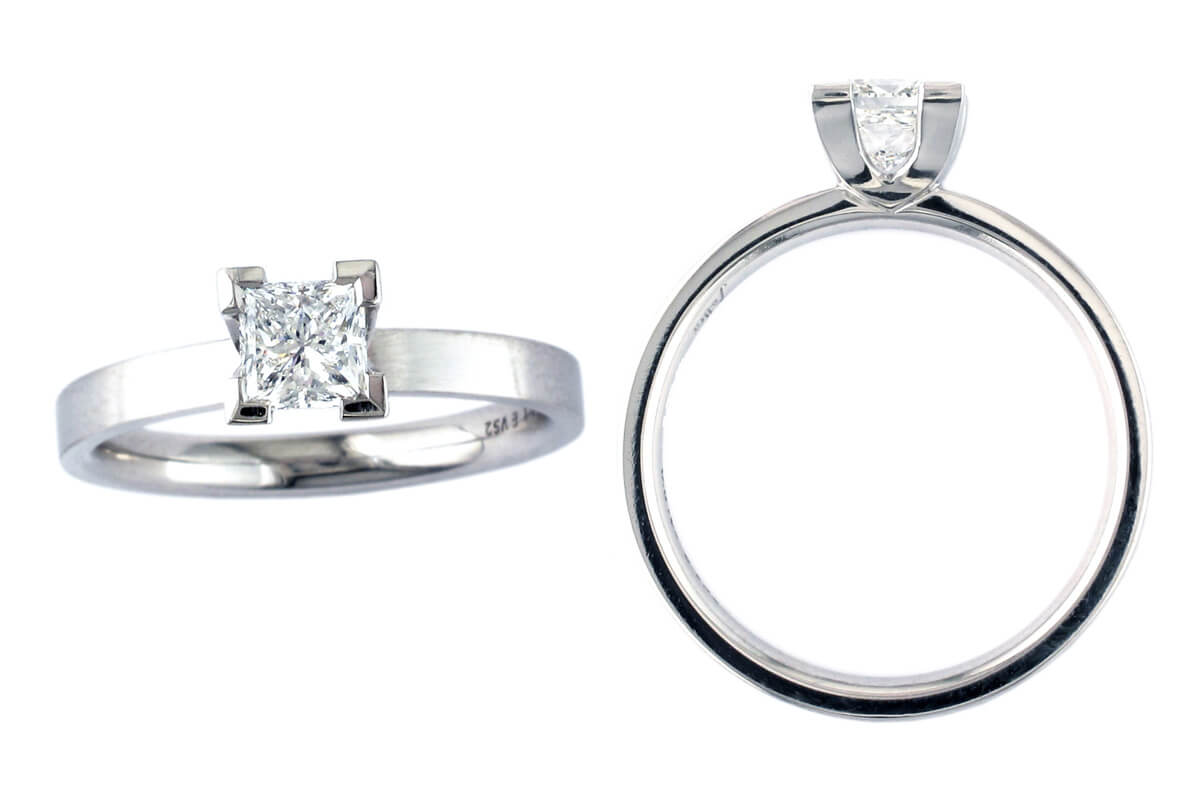 square diamond solitaire style engagement ring style, designed & made by Faller the Jeweller, Derry/ Londonderry, Northern Ireland, bespoke rings, custom design by Faller, platinum