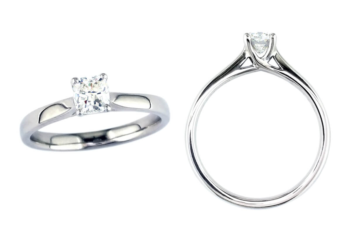 cushion cut diamond solitaire style engagement ring style, designed & made by Faller the Jeweller, Derry/ Londonderry, Northern Ireland, bespoke rings, custom design by Faller, platinum, yellow gold, single stone ring, bespoke jewellery, hand crafted jewelry