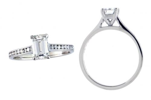 octagon cut diamond multi-stone engagement ring style with diamond set band, designed & made by Faller the Jeweller, Derry/ Londonderry, Northern Ireland, bespoke rings, custom design by Faller, emerald cut